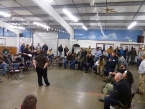 Vigilantes meet with Harney County residents in Burns.  Rally today at noon.