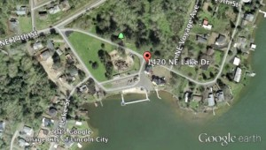 Broken gas service line to a building on NE Lake near Voyager. Google Earth image
