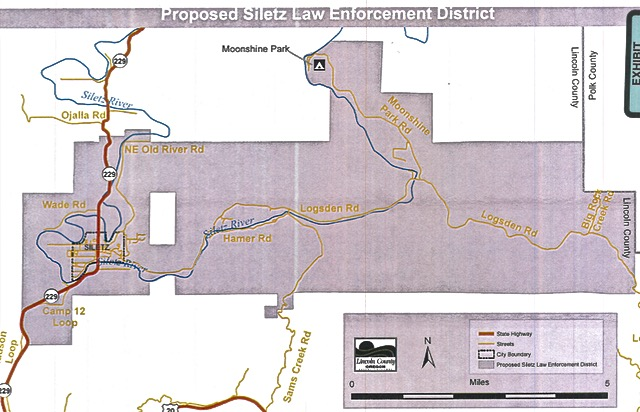 Area of new police district for Siletz and areas east of town both sides of Logsden Roat to the Polk County line.