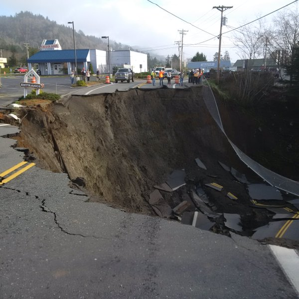 Big slump out on Hwy 101 at Harbor, OR