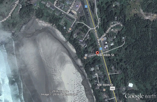 Where sewage is leaking down onto Agate Beach.  Signs are appropriately placed.