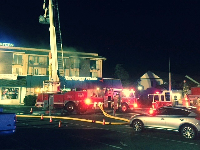 Rodeway Inn Fire in the attic crawlspace has proven to be very elusive. Rep. David Gomberg photo