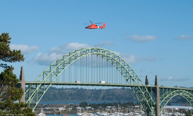 Coast Guard helicopter searched throughout the afternoon for the body. Roy Lowe photo
