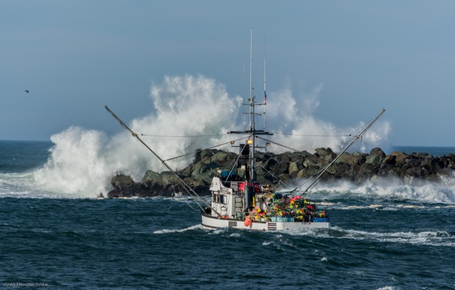 Crab boat heads out the Newport Jaws Greg Henton photo