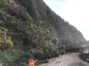 Cliff gave way sending trees, boulders and brush down onto Highway 101 near Heceta Head north of Florence.  ODOT photos