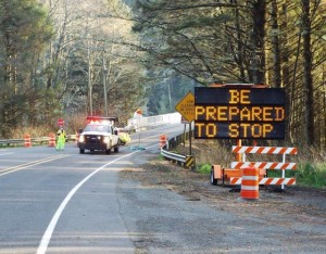 Roadblock on 101 south of Yachats turning motorists around due to landslide up ahead.  Glen Weaver photo