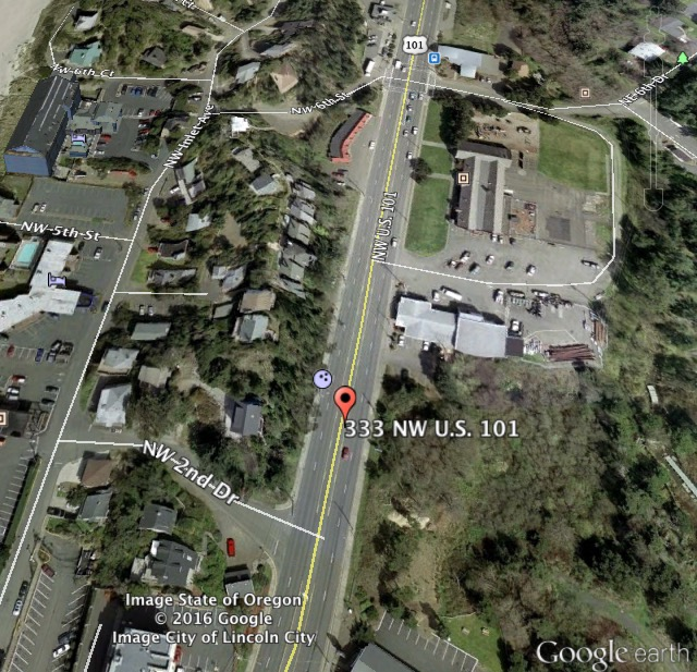 Approximate Crash Scene Highway 101 between 6th and 2nd...which is the detour.