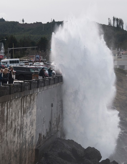 Depoe Bay's Spouting Horn was playing peek-a-boo with tourists along the seawall