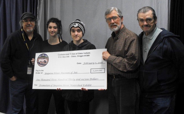 L-R  Peter Vince, Toledo High School Media teacher; Sparrow Houchens, Student in TAG class; Zachery Casberg, Student in TAG class; Michael Gibbons, Toledo artist; Robert O'Brien, Narrator and retiree from FOX News with BIG check from the Siletz Tribal Charitable Contribution Fund for DVD production.