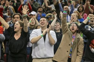 An estimated 11,500 jubilant Sanders supporters packed Moda Center.