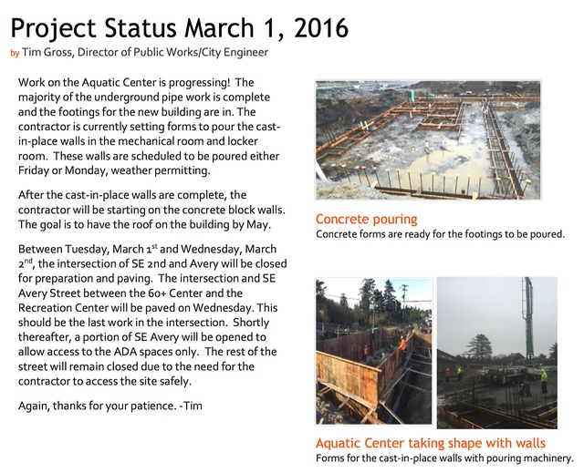 newport pool status report 3.1.16
