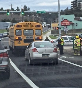 School bus rear-ended on 101 @ 32nd, Nelscott. Colin Teem photo
