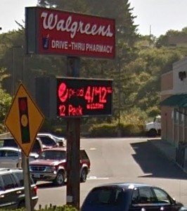 Content changing sign in Lincoln City Google Maps image