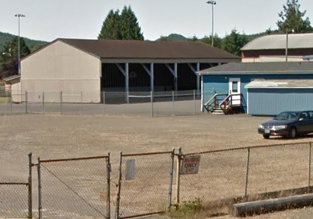 """""""The Play Shed"""" with basketball courts. Google Maps photo"""