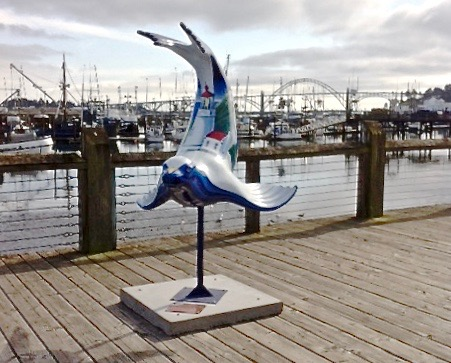 """A sculpture called """"The Dancing Sea Lion"""" has suddenly appeared on the boardwalk in Newport between Port Docks 3 & 5."""