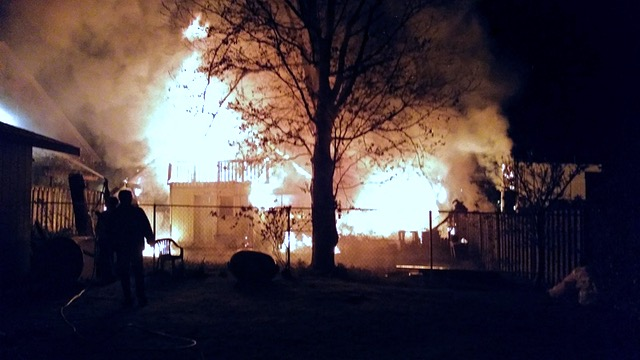 House going up in flames. R Whitlow photo