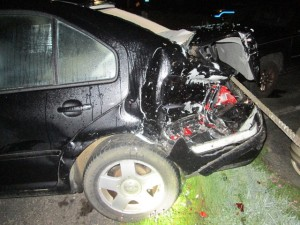 Exlplorer leaves some paint on the VW.  Police looking for the driver of the Explorer.  LCPD photos.