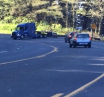 Jack-knifed flatbed on a tight curve on Foulweather this morning.