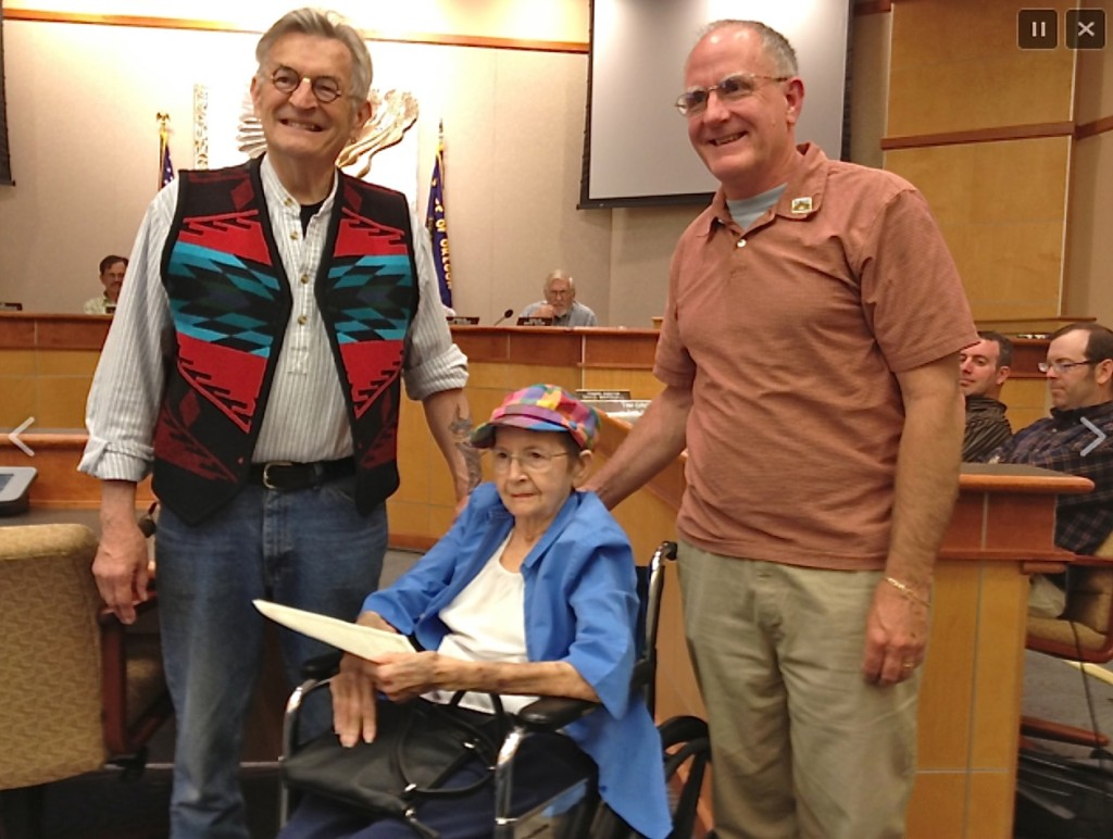 Rick Bartow (L) Mable Mekemson (Rick's mother) C, Mayor Mark McConnell (R)