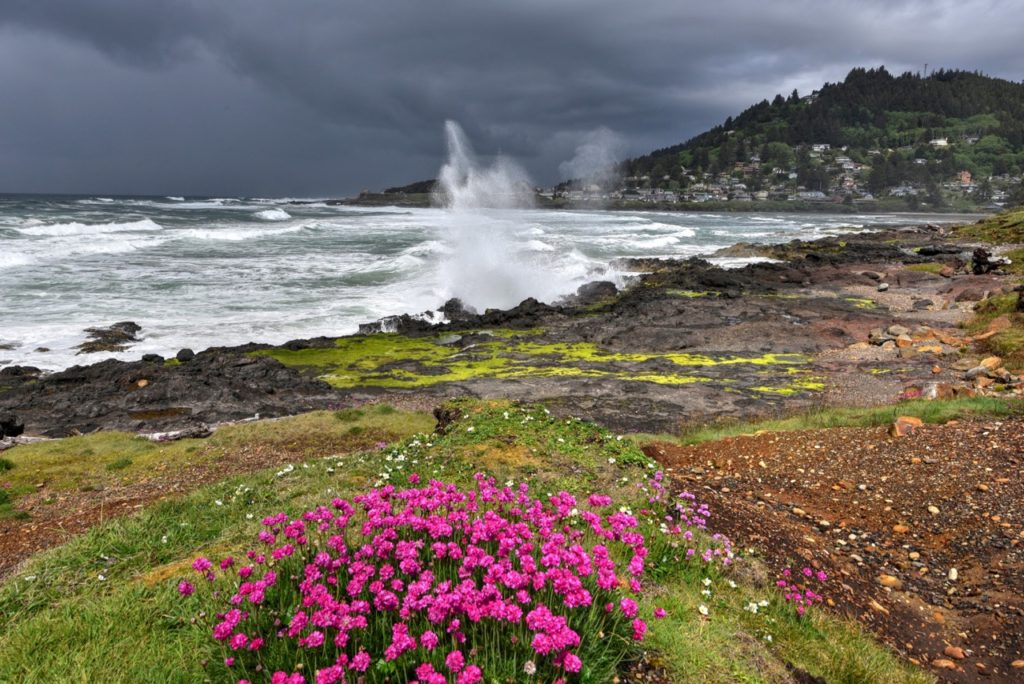 Dark clouds to the north and  Yachats blow hole still doing it's thing... Ken Gagne photo