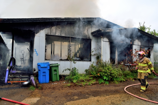 Not much left. Looks like a total loss. Casey Wittmier/Central Oregon Coast Fire and Rescue District photo