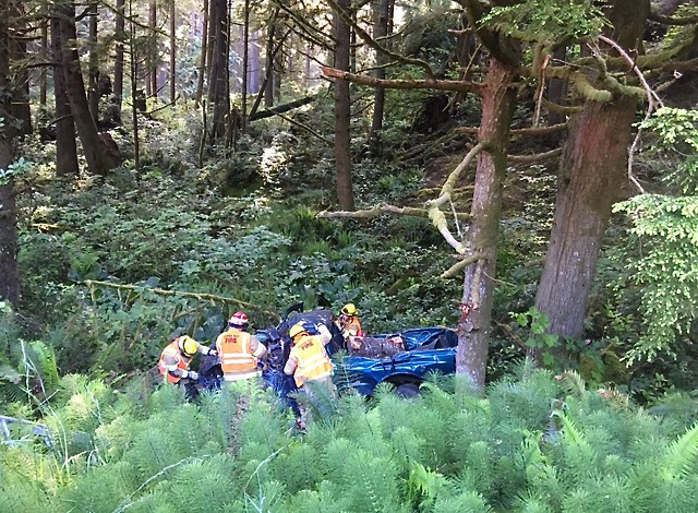 Pickup off 101 near Boiler Bay.   Extracated by Depoe Bay Fire-Rescue.  Flown to trauma center.