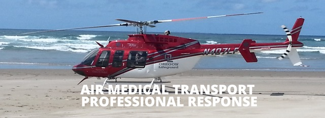 Lifeguard Medical Chopper landing at Boiler Bay  to transport crash victim