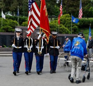 Marine Color Guard during Memorial Day ceremonies at Willamette National Cemetery in Portland.