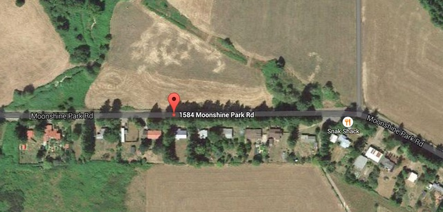 Approximate location of the shed fire off Moonshine Park Road. Google Maps image