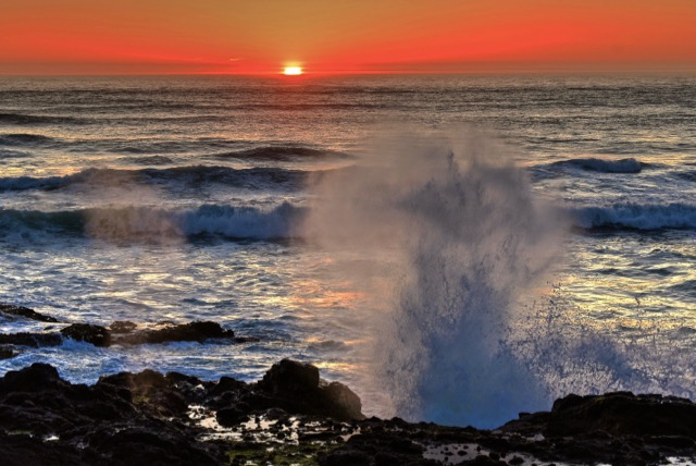 """The shore waves """"good night"""" to the setting sun! Ken Gagne photo"""
