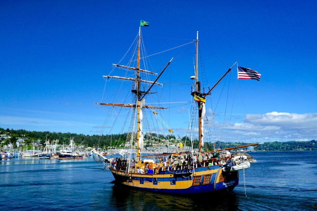 The Chieftain stalks its prey, plying the waters of Yaquina Bay....