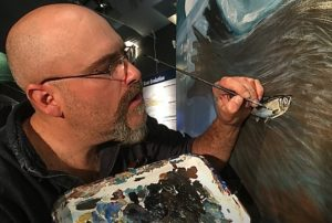 Artist and photographer Ram Papish paints walrus mural at HMSC