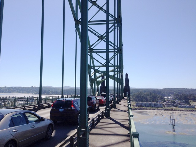 Traffic backed up on the bridge due to a three car smash-up.