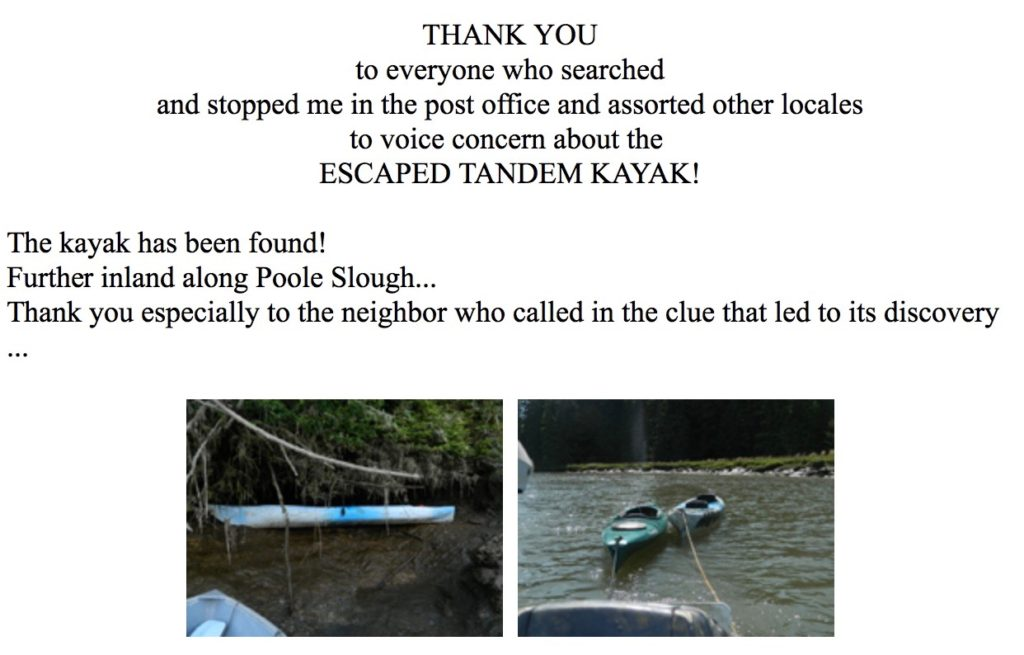 And a big thank you to everyone who kept an eye out for it. Carla Perry