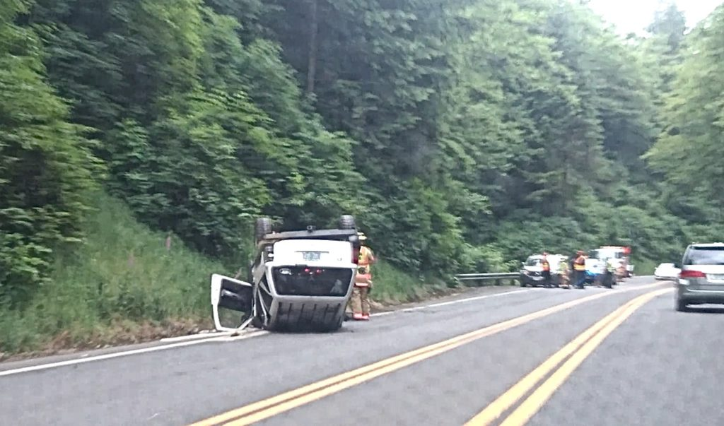 Rollover accident Sunday on Highway 20 just east of Newport.  No news release on it.  No word in injuries.