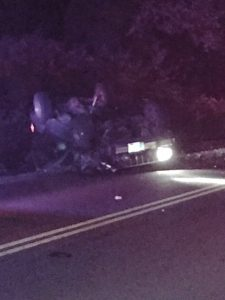 One of two vehicles in head-on crash near Neotsu Post Office - alcohol believed involved.