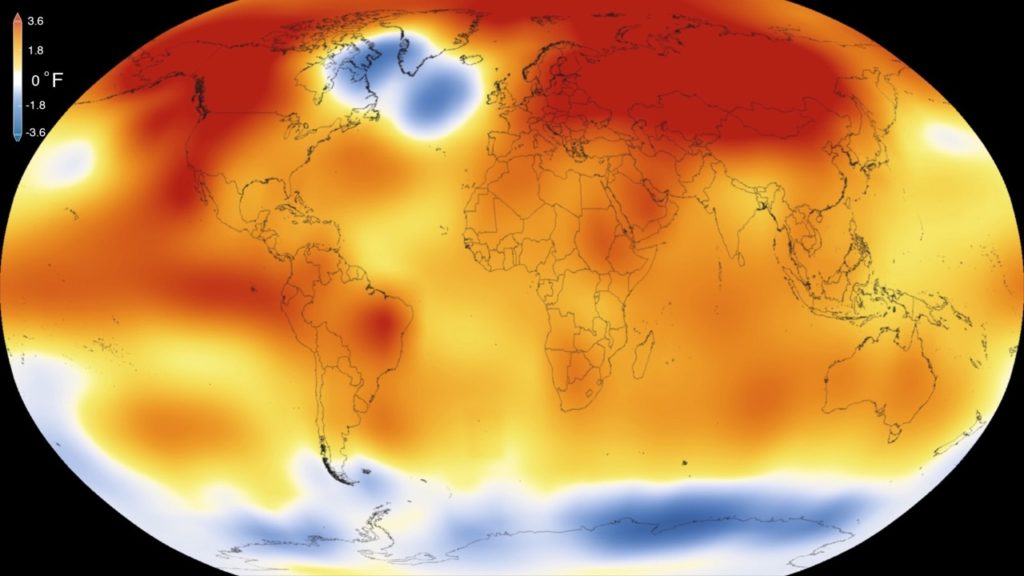 NOAA computer graphic showing growing hot spots around the world.