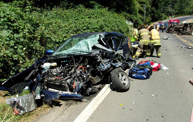 What's left of Kitzhaber's Prius. Logan Kitzhaber is at a Portland Trauma Unit fighting for his life.