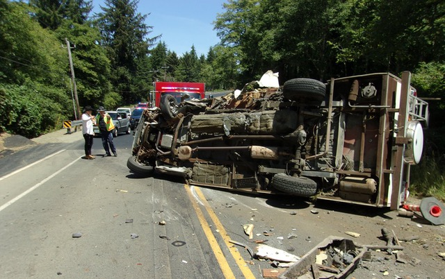 Logan Kitzhaber's Prius sideswiped a motorhome on 101 just north of Lincoln City