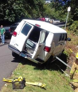 Man trapped underneath for a time...but wasn't seriously injured.
