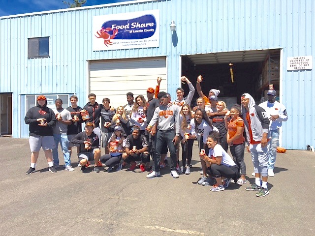 OSU Beavers visit the coast and crank it up for food! Food Share photo