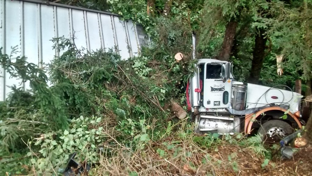 Truck went of a 30 foot embankment and was stopped by trees at the end of the forest.