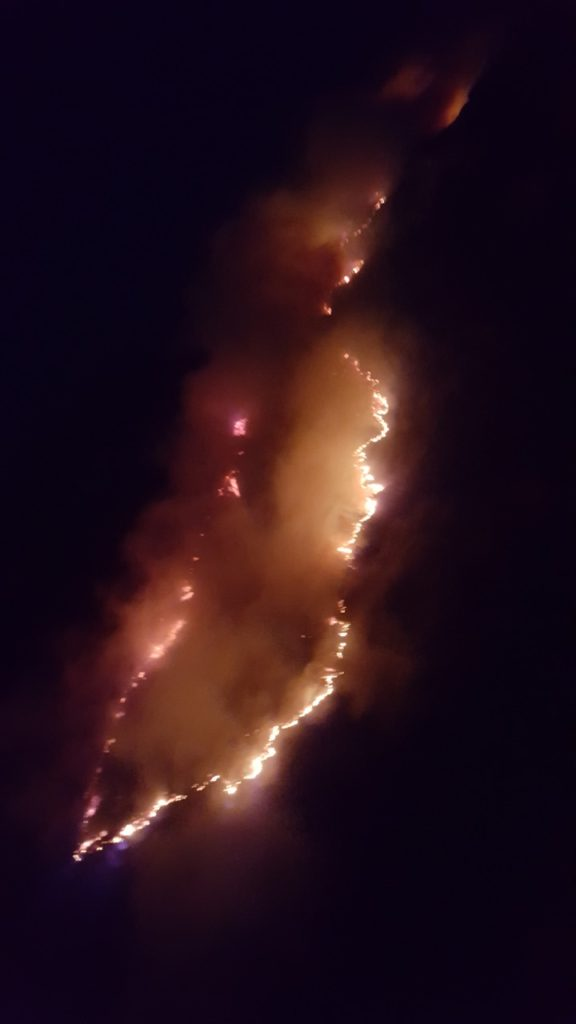 The fire spreading east of Depoe Bay, growing to 75 acres.   Brady Templeton photo