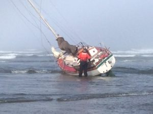 """The sailing career of the """"Saga"""" was ended on the beach in Newport this morning.  Karen Dichari photo"""