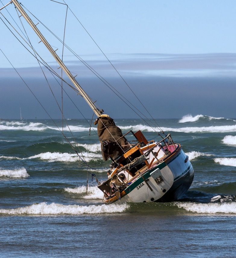 The Saga's sad ending.  Keel stuck too deep for the tide to lift and save her...