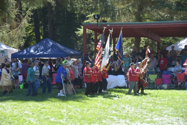 Grand Entry to the annual Siletz Confederated Tribes Pow Wow in Siletz over the weekend.  Tom Mock photos