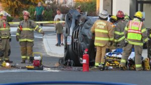 Honda with two elderly persons aboard collides with pickup in front of Taco Bell Saturday evening.