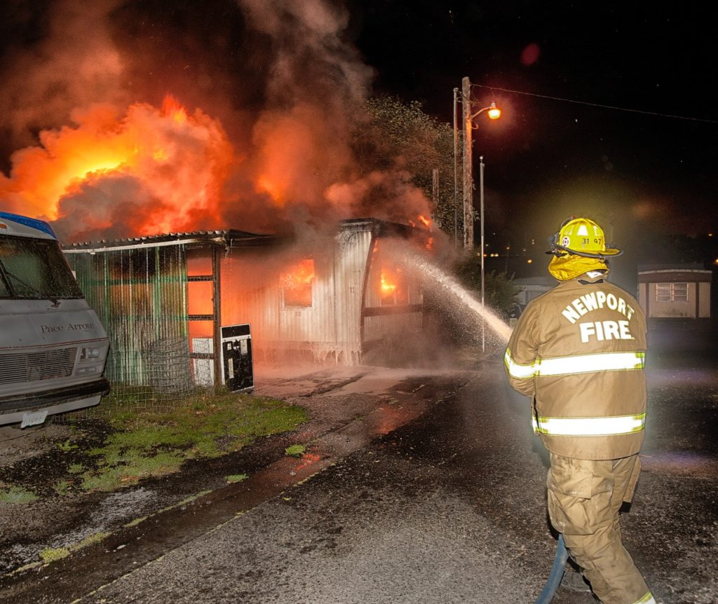 Mobile home fire on NW 6th, early thing morning NFD photo