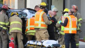 The elderly male driver was pulled from the wreckage after Jaw of Life cut a way out.
