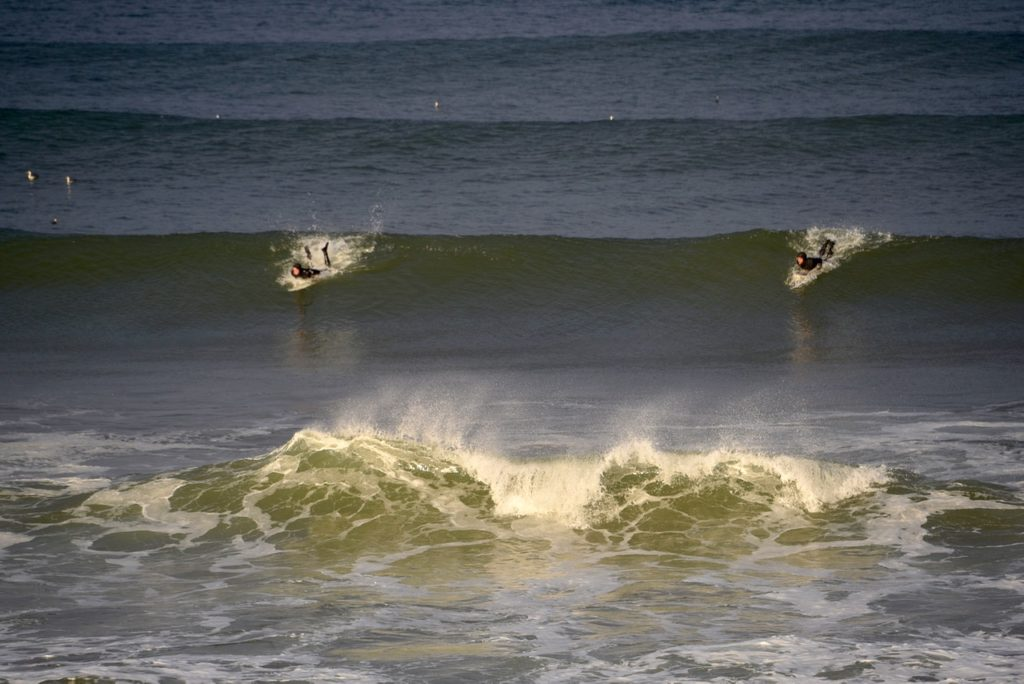 Two take off... Yachats Bay Surfing Ken Gagne photos